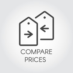 Compare prices icon drawing in line design. Financial comparison outline pictogram. Price-tag with arrow label