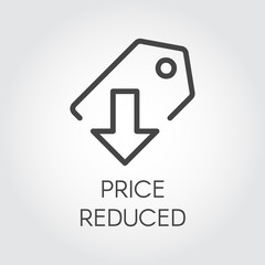 Price reduced linear icon. Price-tag with down arrow logo for stores, shopping, booking sites and mobile apps