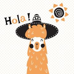 llama in hat