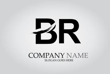 BR Splash Brush Letters Design Logo