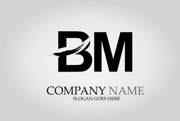BM Splash Brush Letters Design Logo