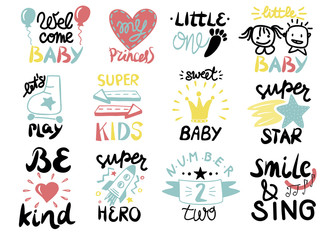 12 children logo with handwriting Little one,Welcome, Super star, Play, Hero, Princess, Sweet baby, Smile and Sing, Be kind.