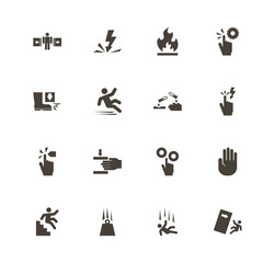 Warning Signs icons. Perfect black pictogram on white background. Flat simple vector icon.