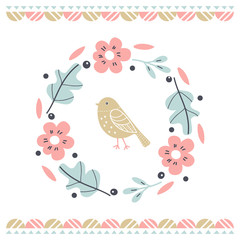 Postcard with wreath and cute bird. Illustration for children's prints, greetings, posters, t-shirt, packaging, invites. Vector illustration.