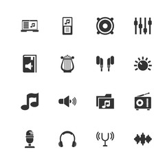 Sound icons. Perfect black pictogram on white background. Flat simple vector icon.