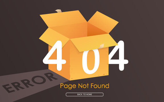 404 box error page not found  vector graphic bacground