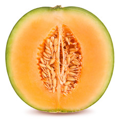 sliced cantaloupe melon path isolated