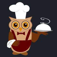 Owl Chef in a Chef's Cap with a fragrant dish