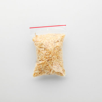 Clear plastic bag with granulated dried garlic