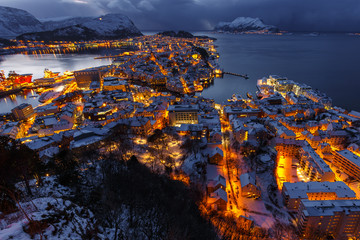 Garden Poster Scandinavia Panoramic view of the town of Alesund at sunset from Aksla hill.