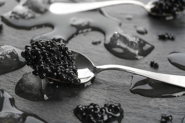 Spoon with black caviar on grey background