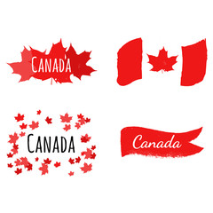 Flag of Canada on grunge style with red maple leaves. Labels set
