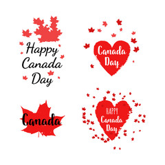 Happy Canada Day label, logo, banner, card, clipart set with red maple leaves.