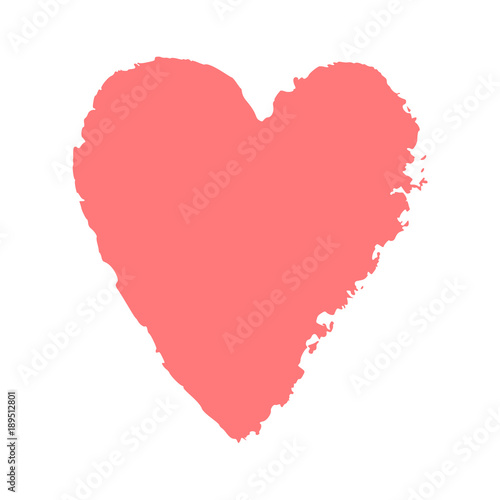 Vector Ink Pink Heart Logo Shape Symbol On Happy Valentines Day
