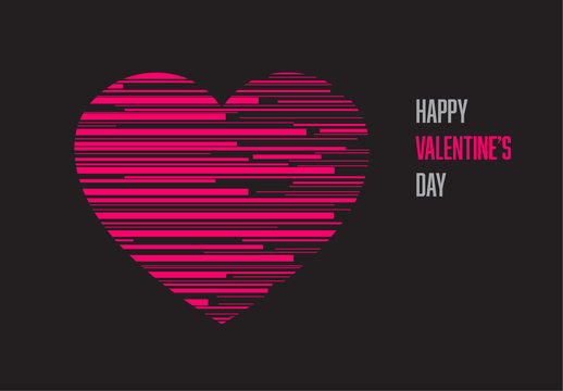 Valentine's Day Card with Pink Lines on Black Background