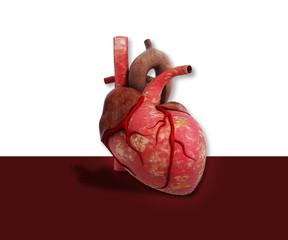 Digital illustration of 3d heart in digital background