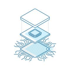 Line art microchip. Central processor unit concept. Isometric vector illustration