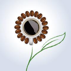 café - concept - tasse de café - fleur - publicité - symbole - petit déjeuner - grain de café
