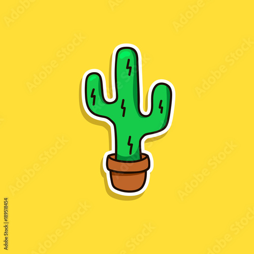 Cactus cartoon vector isolated sticker patch badge pin icon funny cute cacti