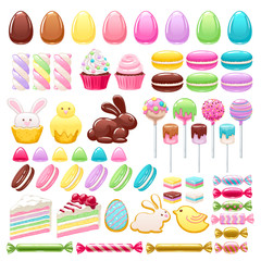 Colorful easter icons set vector illustration.