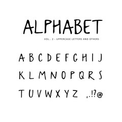Hand drawn vector alphabet. Sans serif font, isolated letters written with marker, ink. Calligraphy, lettering.