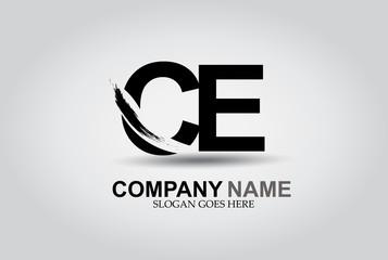 CE Splash Brush Letters Design Logo