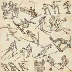Winter Sport. An hand drawn full sized pack. Hand drawing on paper. Line Art.