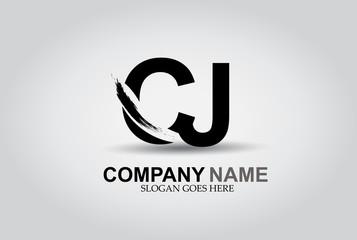 CJ Splash Brush Letters Design Logo