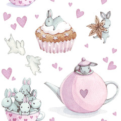pattern with rabbit. Pattern with rabbit. Watercolor background
