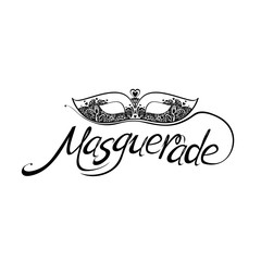 Masquerade. Lettering design and lace mask isolated on white background for Mardi Gras.