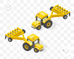 Set of Isolated Isometric Minimal City Elements . Tractor with Shadows on Transparent Background