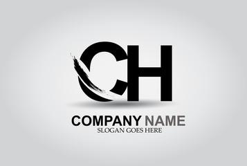 CH Splash Brush Letters Design Logo