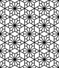 Vector seamless texture. Modern geometric background. Monochrome repeating pattern. Hexagonal tiles with asterisks.