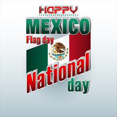 Holiday design, background with 3d texts, national flag colors and coat of arms for Mexico, flag day, celebration; Vector illustration