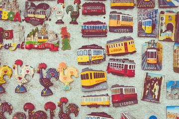 Colorful Ceramic Tiles Magnets Souvenirs Handicrafts Lisbon Portugal.