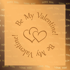 golden vector background with hearts - be my valentine