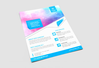 Business Brochure Layout with Blue Header Elements 1