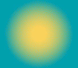 Vector halftone gradient. Retro pop sun made by dots.