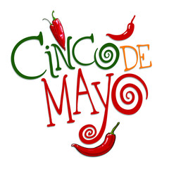 Cinco De Mayo hand drawn lettering design. illustration perfect for announcement, invitation, party, greeting card, fiesta, bar, restaurant, menu. Vector illustration isolated on white background.