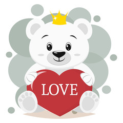 Polar bear in the crown sits and holds in the paws a red heart with the inscription love, in the style of cartoons.