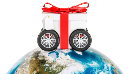 Worldwide gift delivery concept, 3D rendering
