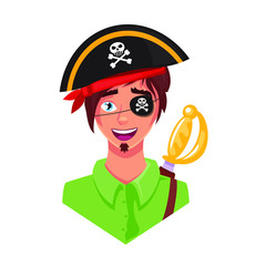 Funny cute boy with pirate clothes, vector illustration isolated on white background