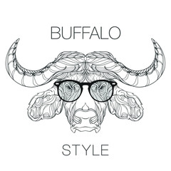 Ornament face of buffalo in line art style with fashion eyeglasses, vector illustration isolated on white background, coloring book, black and white version