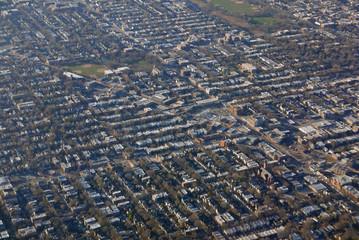 Luftaufnahme im Landeanflug auf Chicago
