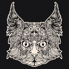 Vector black and white version of cat face in lines. Illustration isolated on black background.