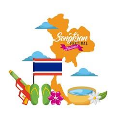 songkran festival thailand map landmark flag sandals water gun vector illustration