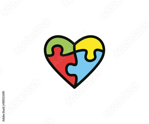 Heart and puzzle logo template colorful. Health vector design ...
