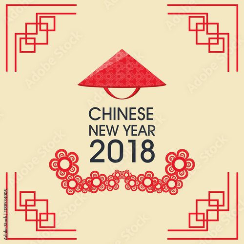 happy chinese new year 2018 greeting card \