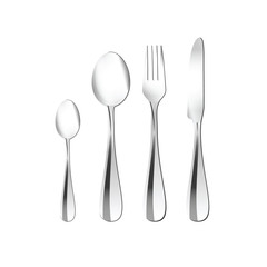 cutlery illustration in silver
