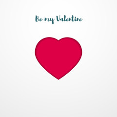Valentines day postcard Minimalistic template with red heart on a white background with the inscription Be my Valentine Minimalistic vector illustration in paper art style